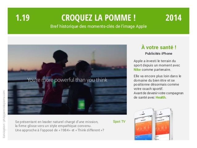 Croquez la pomme ! Bref historique des moments-clés de l'image Apple Spot TVSe présentant en leader naturel chargé d'une m...