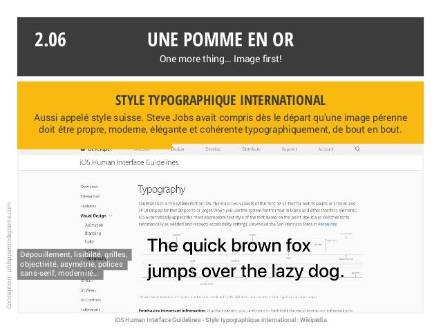 Une pomme en or One more thing… Image first! iOS Human Interface Guidelines - Style typographique international : Wikipédi...