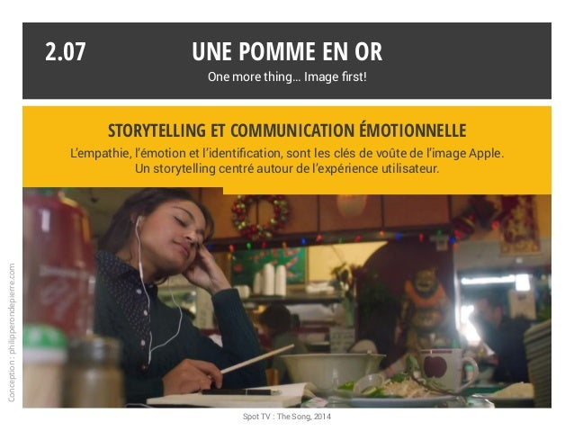 Une pomme en or One more thing… Image first! Spot TV : The Song, 2014 2.07 Storytelling et communication émotionnelle L'em...