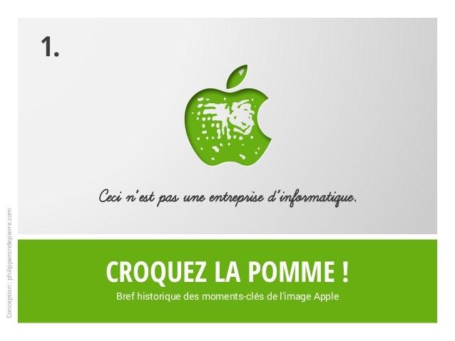 Croquez la pomme ! Bref historique des moments-clés de l'image Apple Ceci n'est pas une entreprise d'informatique. 1. Conc...