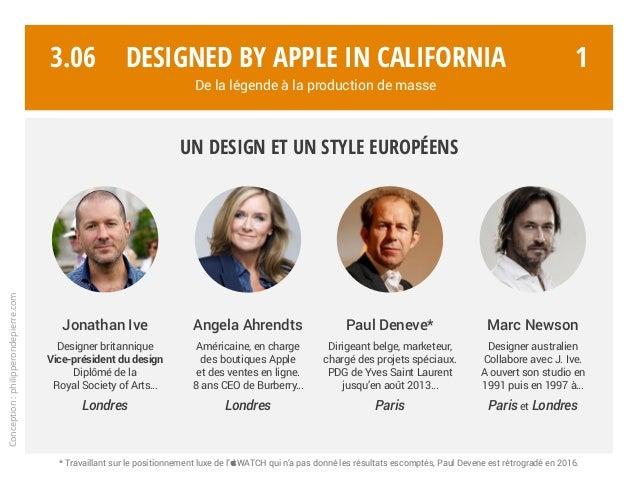 Jonathan Ive Designer britannique Vice-président du design Diplômé de la Royal Society of Arts… Londres Paul Deneve* Dirig...