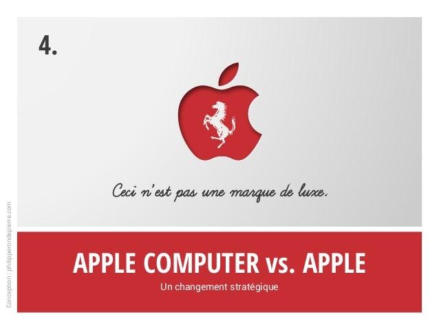 Apple Computer vs. Apple Un changement stratégique Ceci n'est pas une marque de luxe. 4. Conception:philipperondepierre.com