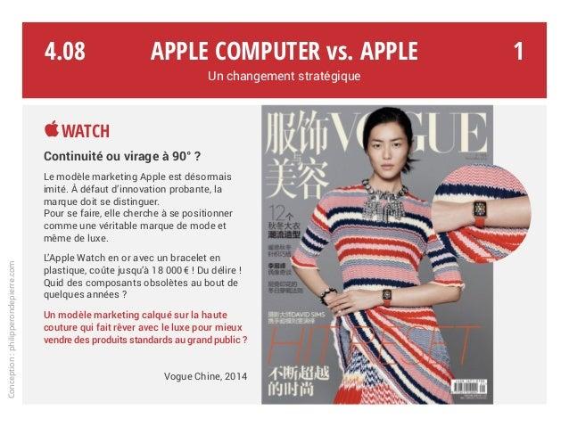 Apple Computer vs. Apple Un changement stratégique Watch Continuité ou virage à 90° ? Le modèle marketing Apple est désor...