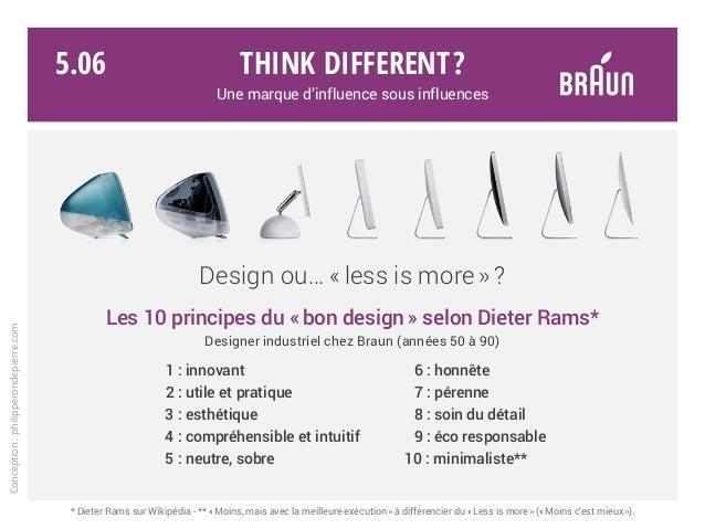 Les 10 principes du « bon design » selon Dieter Rams* Designer industriel chez Braun (années 50 à 90)  1 : innovant 6 : ...