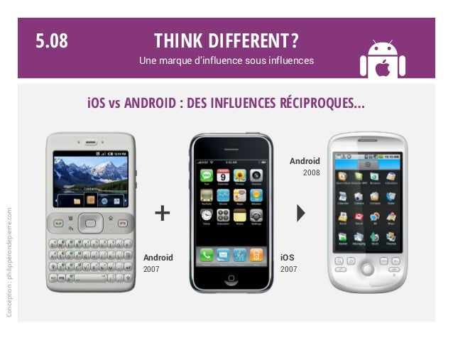 Think different? Une marque d'influence sous influences iOS vs ANDROID : des influences réciproques… Android 2007 Android ...