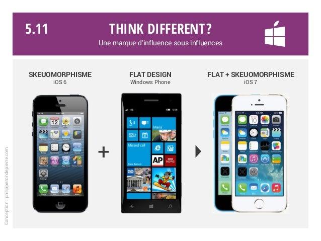 Think different? Une marque d'influence sous influences SKEUOMORPHISME iOS 6 FLAT DESIGN Windows Phone FLAT + SKEUOMORPHIS...