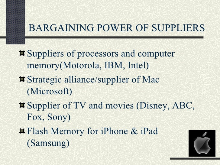 apple bargaining power of customers Strategies for competitive advantage in electronic commerce namchul shin department of information systems,  bargaining power to customers.