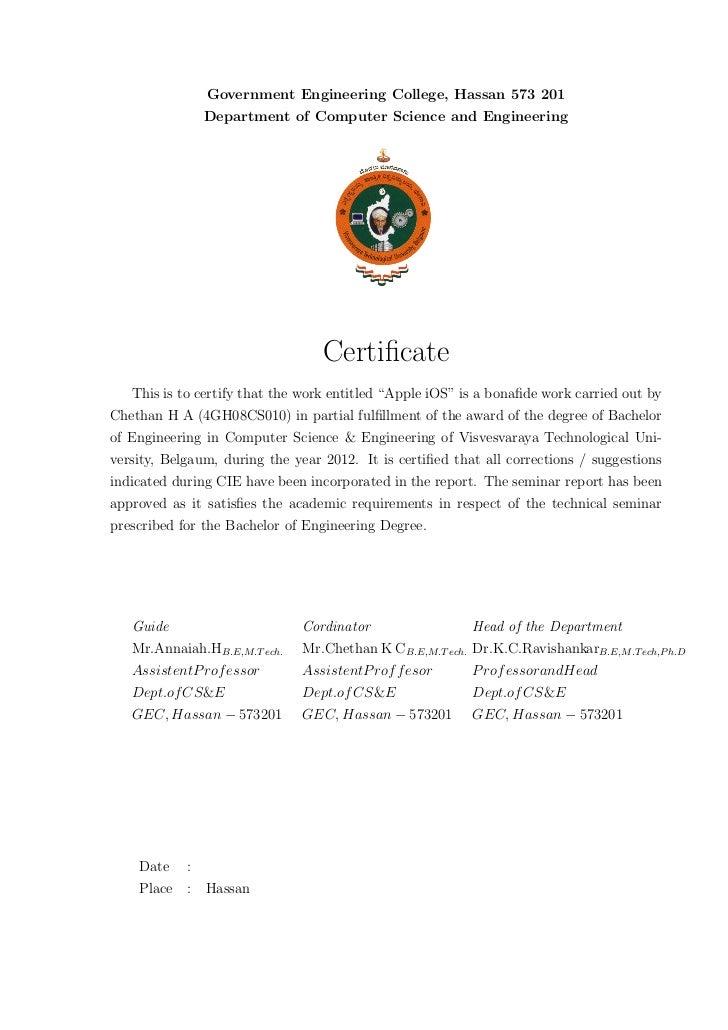vtu certificate format for seminar report images