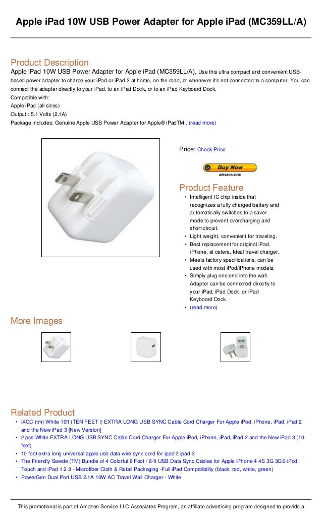 Apple I Pad 10w Usb Power Adapter For Apple Ipad Mc359lla