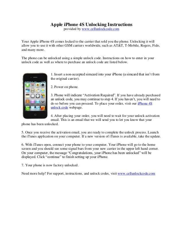 Apple Iphone 4s Unlocking Instructions
