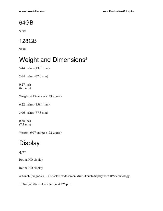 iPhone 6 Plus. Features and Specs