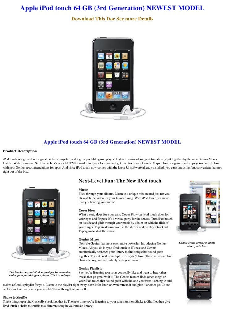 Apple iPod touch 64 GB (3rd Generation) NEWEST MODEL                                                            Download T...