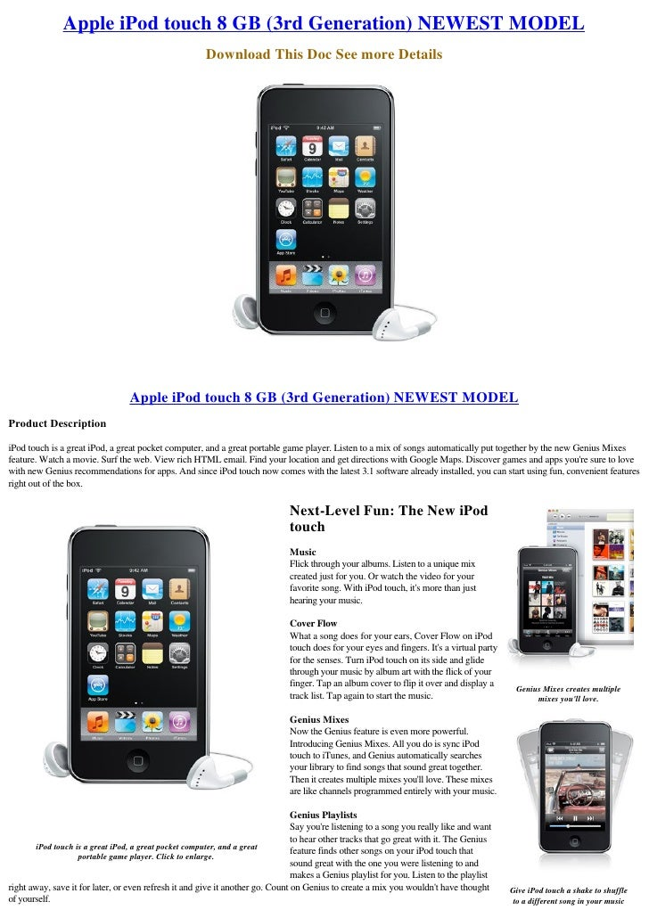 Apple iPod touch 8 GB (3rd Generation) NEWEST MODEL                                                        Download This D...