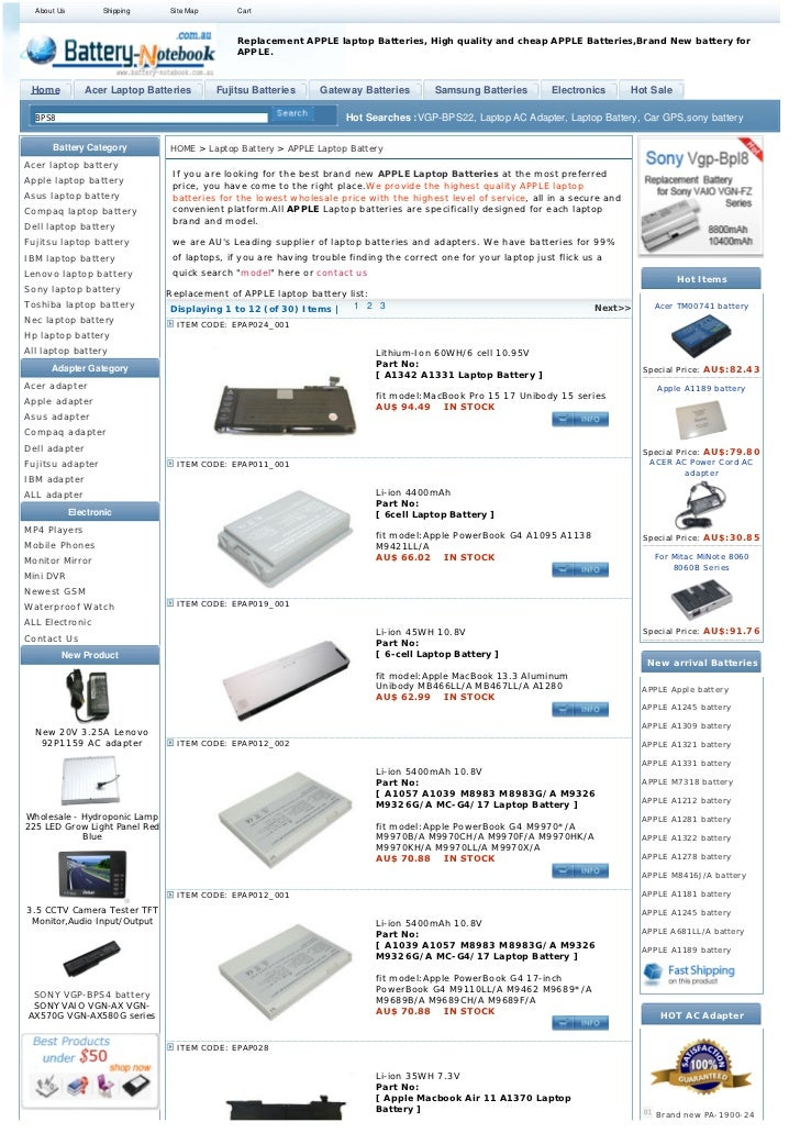 About Us          Shipping    Site Map       Cart                                               Replacement APPLE laptop B...