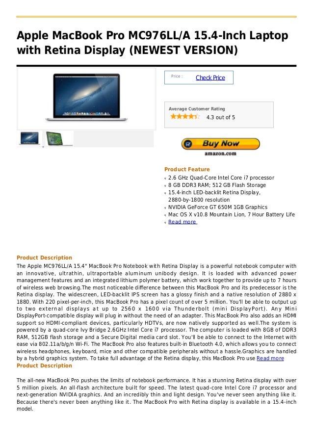 Apple MacBook Pro MC976LL/A 15.4-Inch Laptopwith Retina Display (NEWEST VERSION)                                          ...