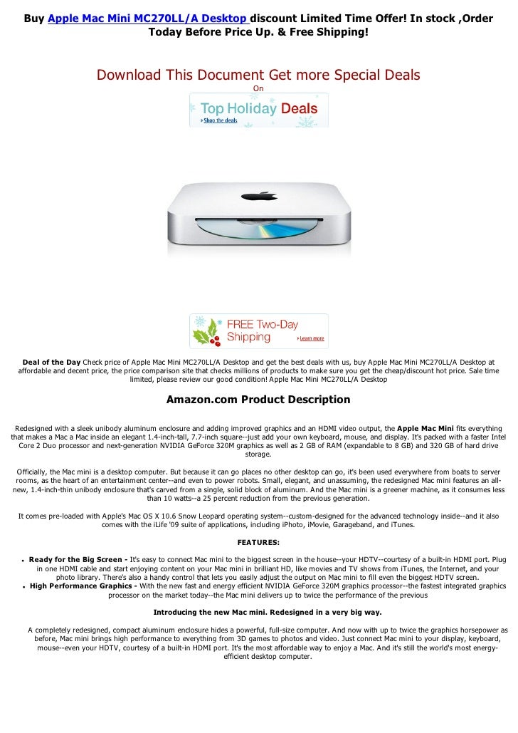 Buy Apple Mac Mini MC270LL/A Desktop discount Limited Time Offer! In stock ,Order                        Today Before Pric...