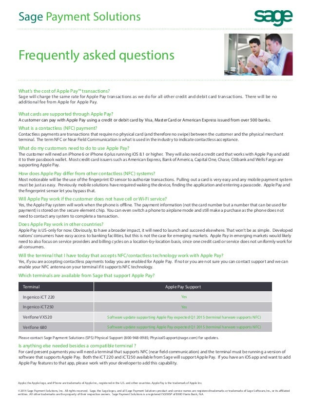 Frequently Asked Questions About Apple Pay and Sage Payments