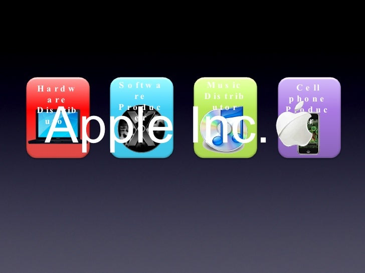 Hardware Distributor Software Producer Music Distributor Cell phone Producer Apple Inc.