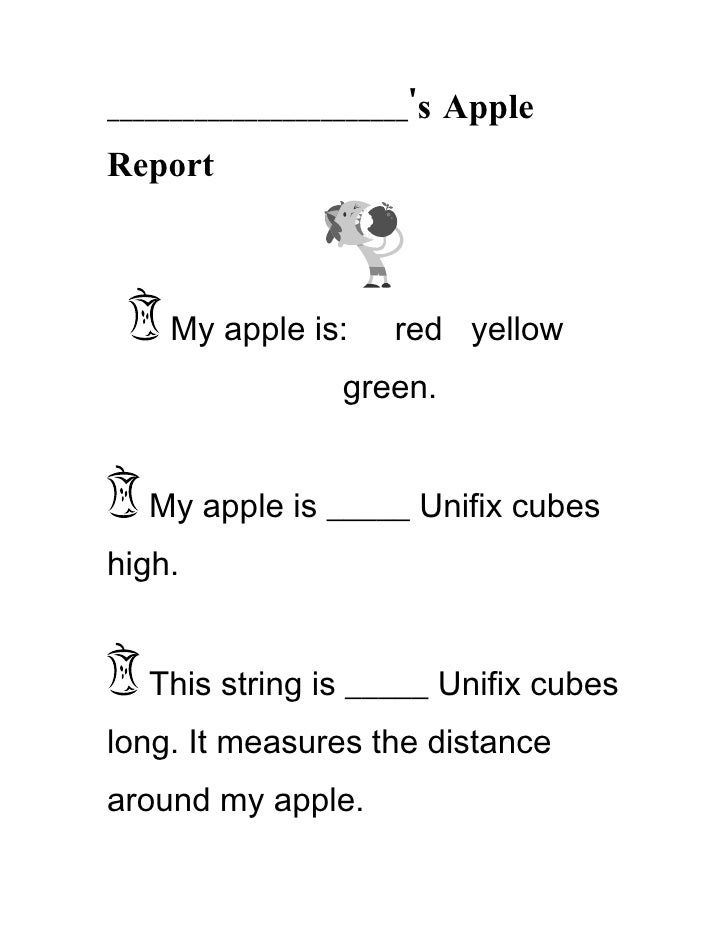 ________________________'s Apple Report        My apple is:     red yellow                  green.      My apple is _____ ...