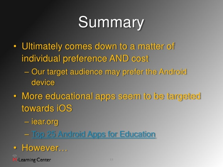 Comparing Apples And Androids