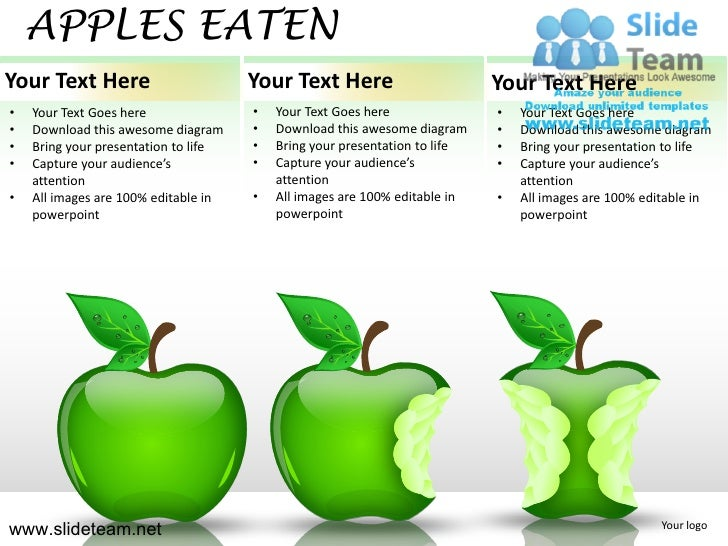 APPLES EATENYour Text Here                        Your Text Here                        Your Text Here•   Your Text Goes h...