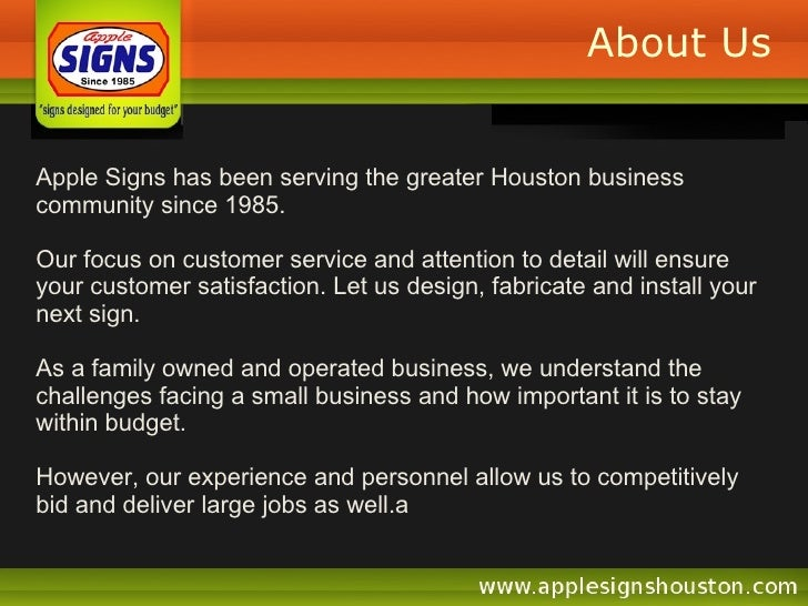 About Us Apple Signs has been serving the greater Houston business community since 1985.  Our focus on customer service an...
