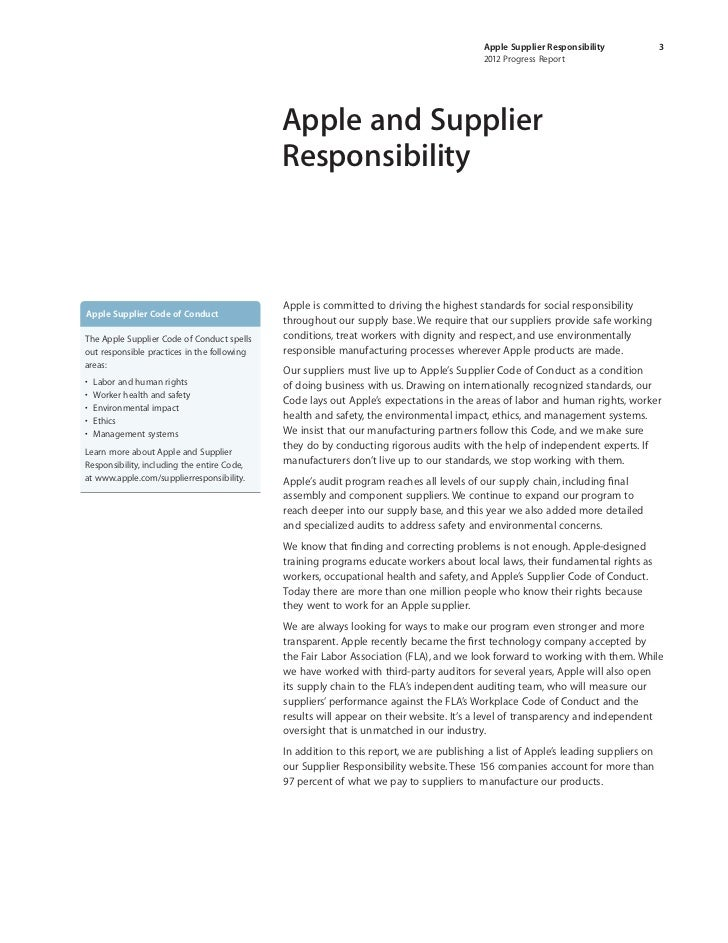 Apple code of ethics supplier responsibility commerce essay