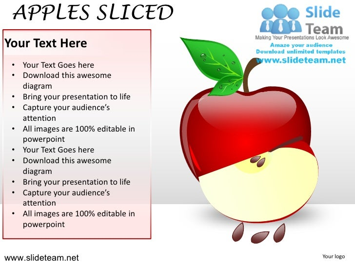 APPLES SLICEDYour Text Here • Your Text Goes here • Download this awesome   diagram • Bring your presentation to life • Ca...