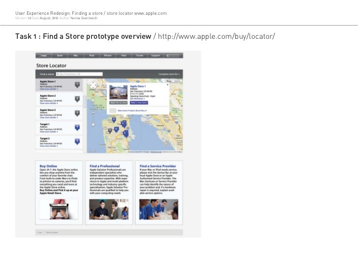 User Experience Redesign: Finding a store / store locator www.apple.comVersion 1.0 Date August, 2012 Author Yanina Guerzov...