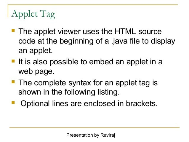 Java made simple: read html param tag in applet example.