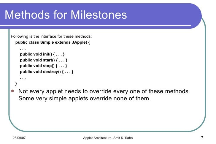 Applet architecture introducing java applets for Java 7 architecture