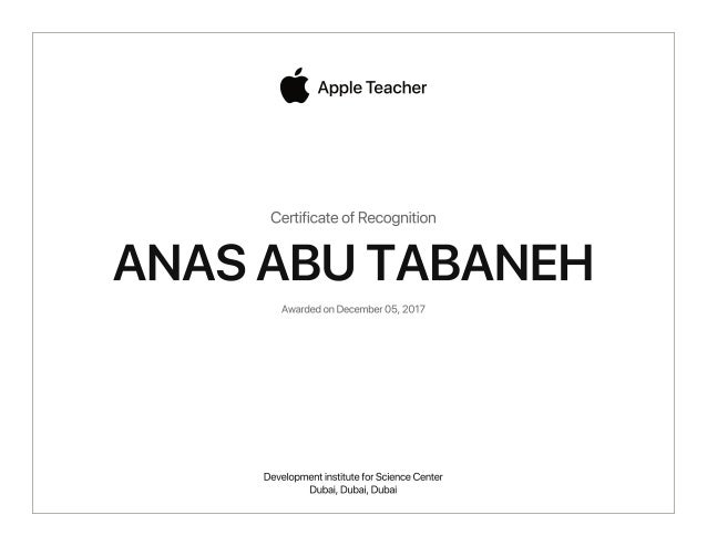 certificate teacher apple