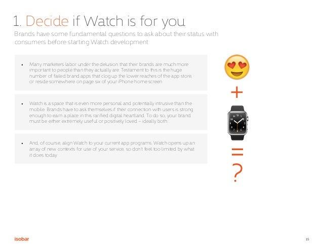 15 1. Decide if Watch is for you Brands have some fundamental questions to ask about their status with consumers before st...
