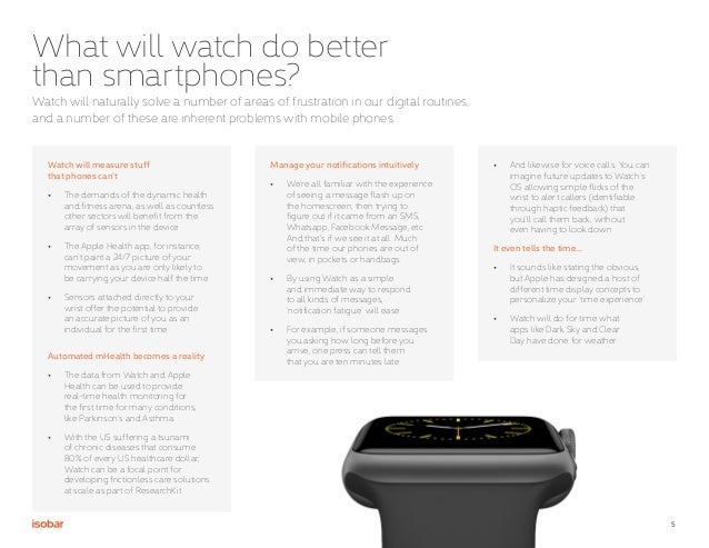 5 What will watch do better than smartphones? Watch will measure stuff that phones can't • The demands of the dynamic hea...