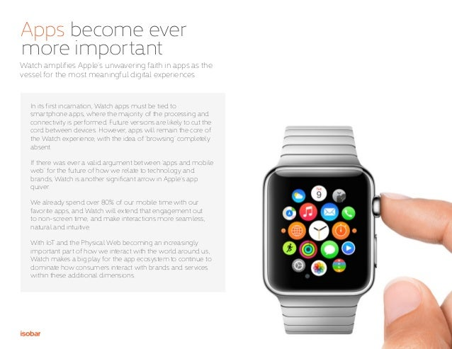 8 Apps become ever more important Watch amplifies Apple's unwavering faith in apps as the vessel for the most meaningful d...
