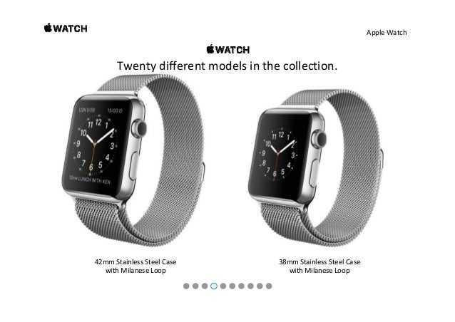 AppleWatch 42mmStainlessSteelCase withBlackLeatherLoop 42mmStainlessSteelCase withBlackLeatherLoop Twentydif...