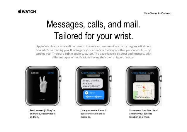 NewWaystoConnect Your wrist now takes phone calls. Usethebuilt‐inspeakerandmicrophoneforquick chats,orseamles...