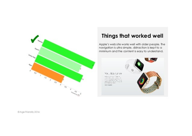 Apple's web site works well with older people. The navigation is ultra simple, distraction is kept to a minimum and the co...