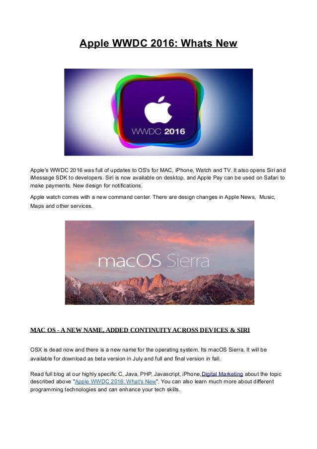Apple Wwdc 2016: Whats New