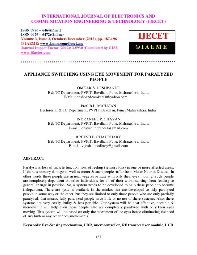International INTERNATIONALCommunication Engineering & Technology (IJECET), ISSN 0976 –               Journal of Electroni...