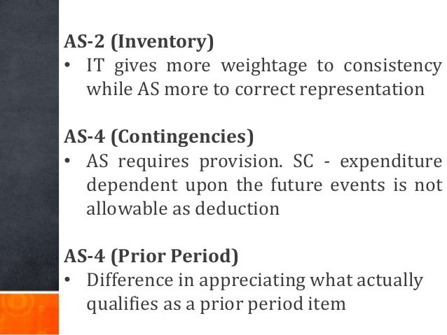 AS-2 (Inventory) • IT gives more weightage to consistency while AS more to correct representation AS-4 (Contingencies) • A...
