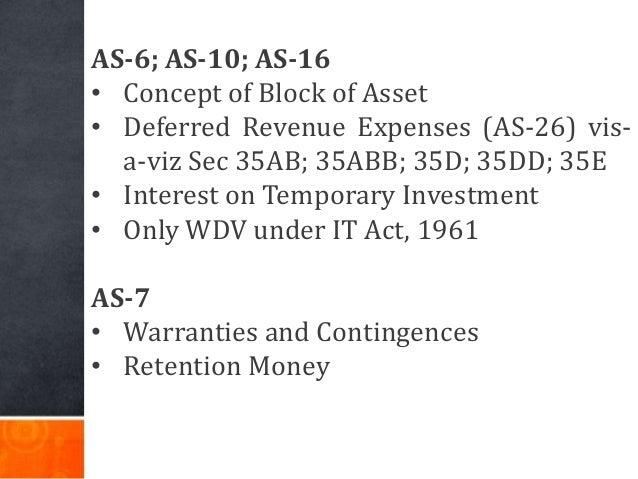 AS-6; AS-10; AS-16 • Concept of Block of Asset • Deferred Revenue Expenses (AS-26) vis- a-viz Sec 35AB; 35ABB; 35D; 35DD; ...