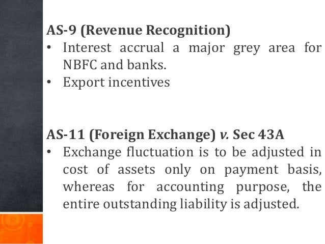 AS-9 (Revenue Recognition) • Interest accrual a major grey area for NBFC and banks. • Export incentives AS-11 (Foreign Exc...