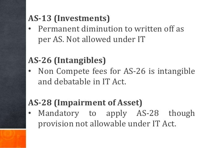 AS-13 (Investments) • Permanent diminution to written off as per AS. Not allowed under IT AS-26 (Intangibles) • Non Compet...