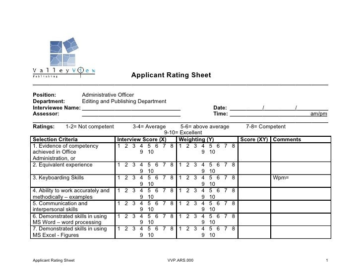 Applicant rating sheet for Selection sheet for home selections for builders