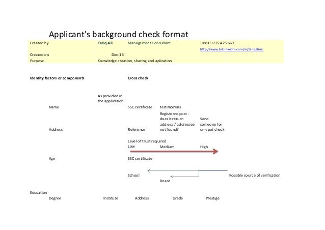 Applicant's background check format