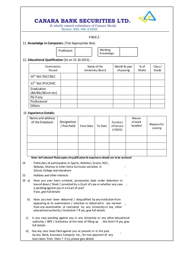 canara bank Application form 2015 – Bank Application