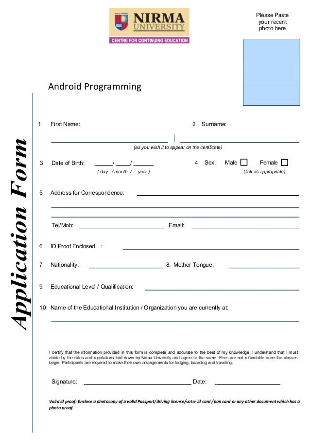 Application Form For Android Programming Workshop