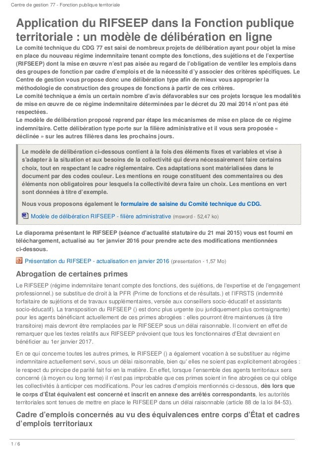 application du rifseep dans la fonction publique territoriale un mode u2026