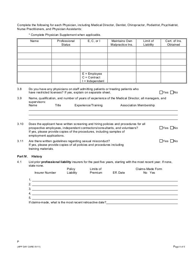 Professional Liability Insurance Application For Adult Day